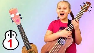 """Полина и Квадроух дают урок 1 по игре на укулеле для детей в студии """"Просто Укулеле"""". Виды укулеле."""