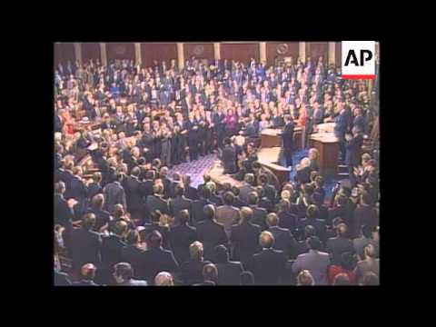 President Ronald Reagan addresses a historic 100th Congress to deliver the State of the Union