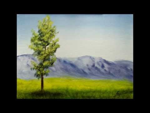 Green Tree Landscape Oil Painting on panel