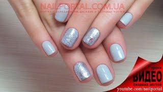 Дизайн ногтей гель-лак shellac - Фольга + блестки (видео уроки дизайна ногтей)