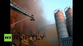 Russia: Emercom Battle Huge Blaze At St. Petersburg Woodwork Plant