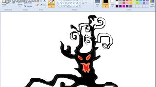 How to Draw spooky tree halloween drawing in ms paint