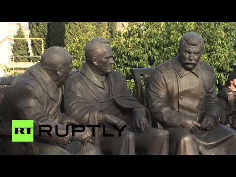Russia: Monument to Stalin, Roosevelt and Churchill unveiled in Yalta
