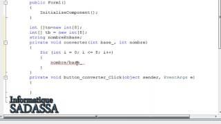 Vidéo 12 : Créer un convertisseur : nombre décimale vers un nombre binaire,octale et hexadécimale.