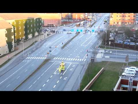 Helicopter taking off from a road at Aarhus University Hospital