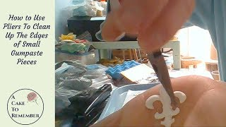 How to clean up the edges of gumpaste pieces with needle nose pliers.