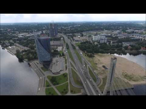 Daugava River in Riga from Bird's Eye View