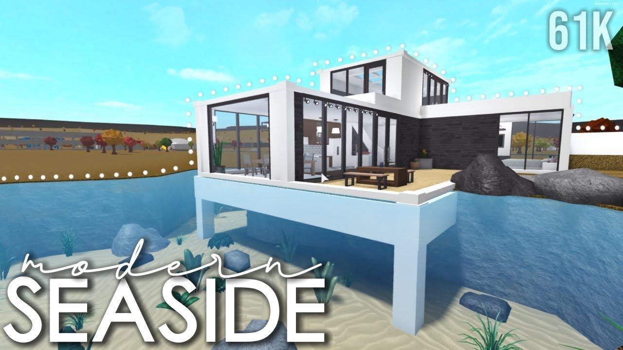 Bloxburg Modern Seaside Home 61k Speedbuild Youtube