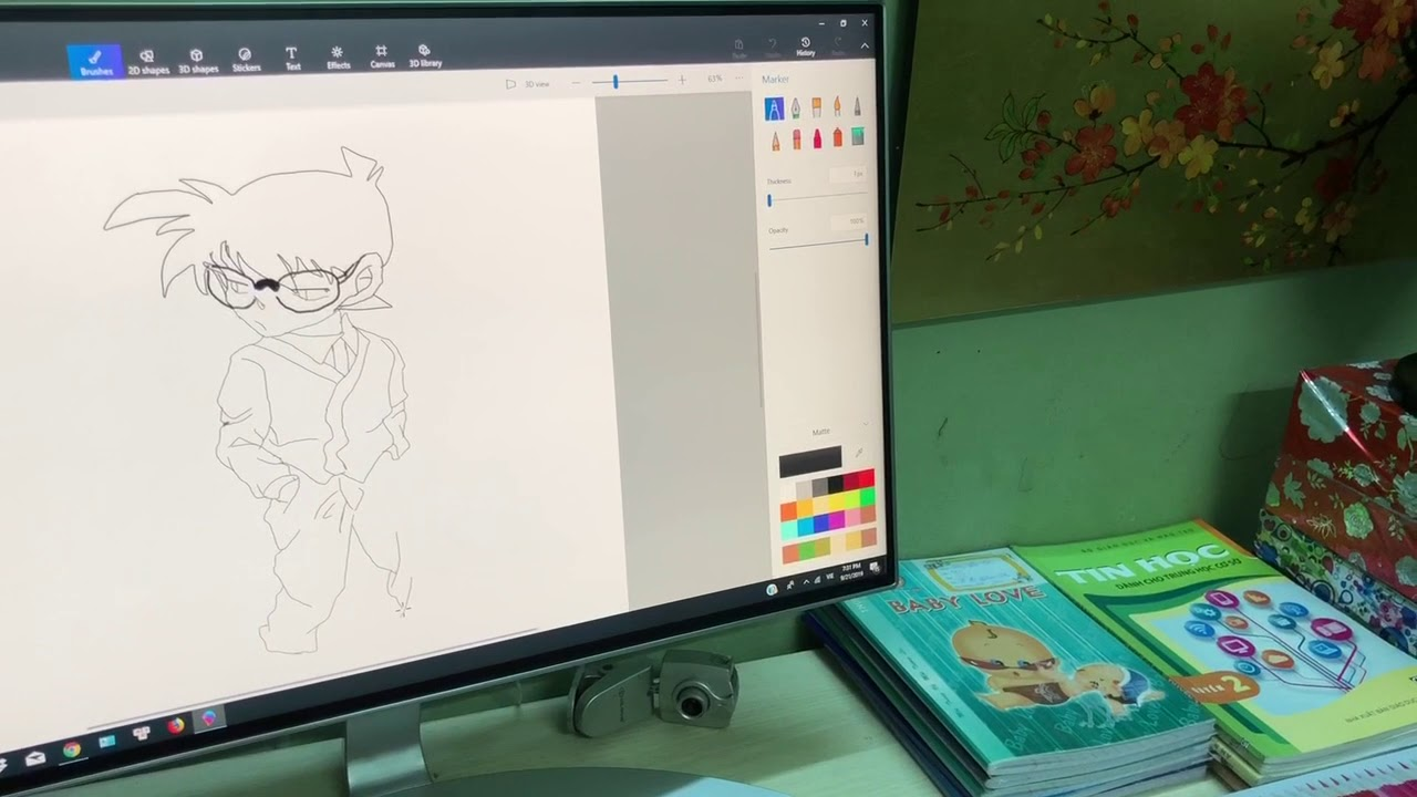 Bé 12 tuổi vẽ CONAN tìm cách phá án quá siêu