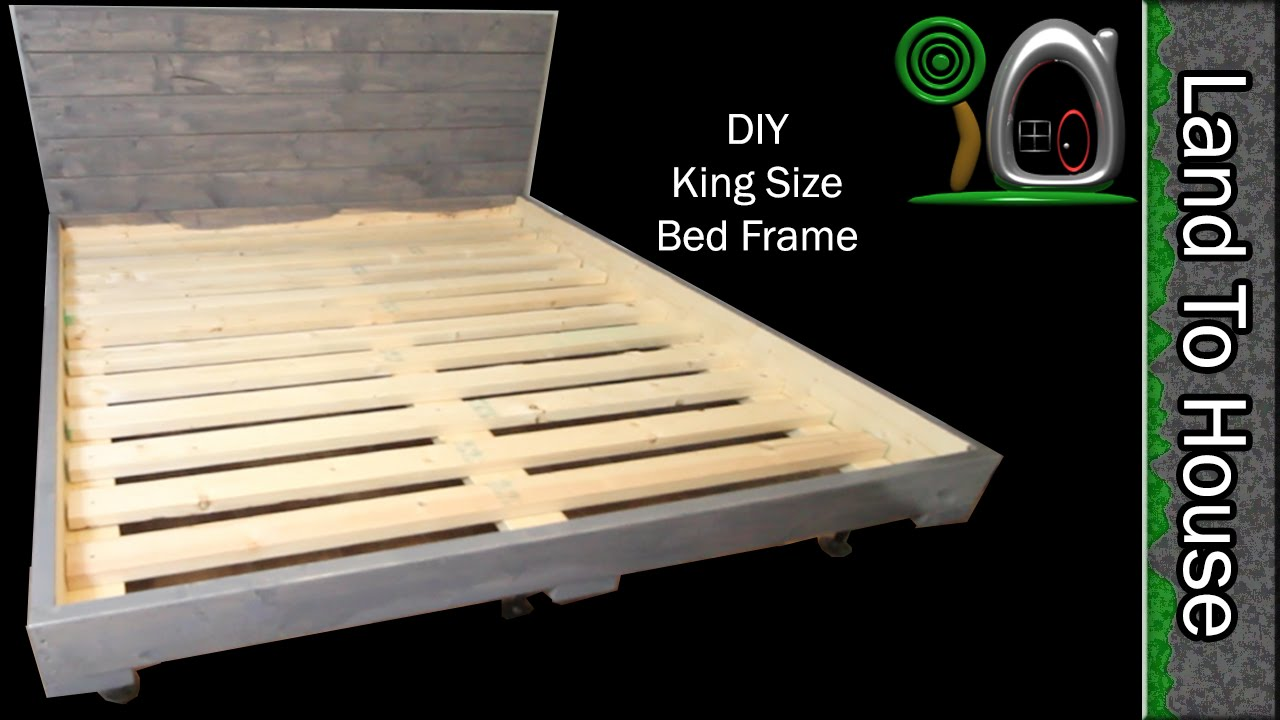 Build A Simple King Size Bed Frame Out Of Wood Youtube