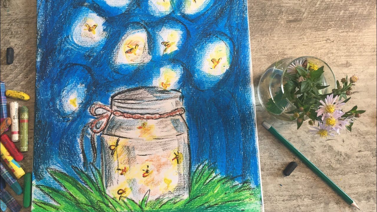 How To Draw Fireflies In The Jar