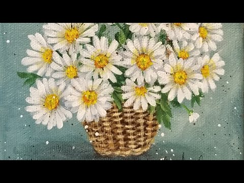 Daisy Flower Of The Month Series Acrylic Painting LIVE Tutorial