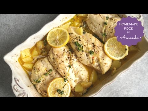 Baked Lemon Chicken And Potatoes (Tips For Tender Chicken Breast) | Homemade Food By Amanda