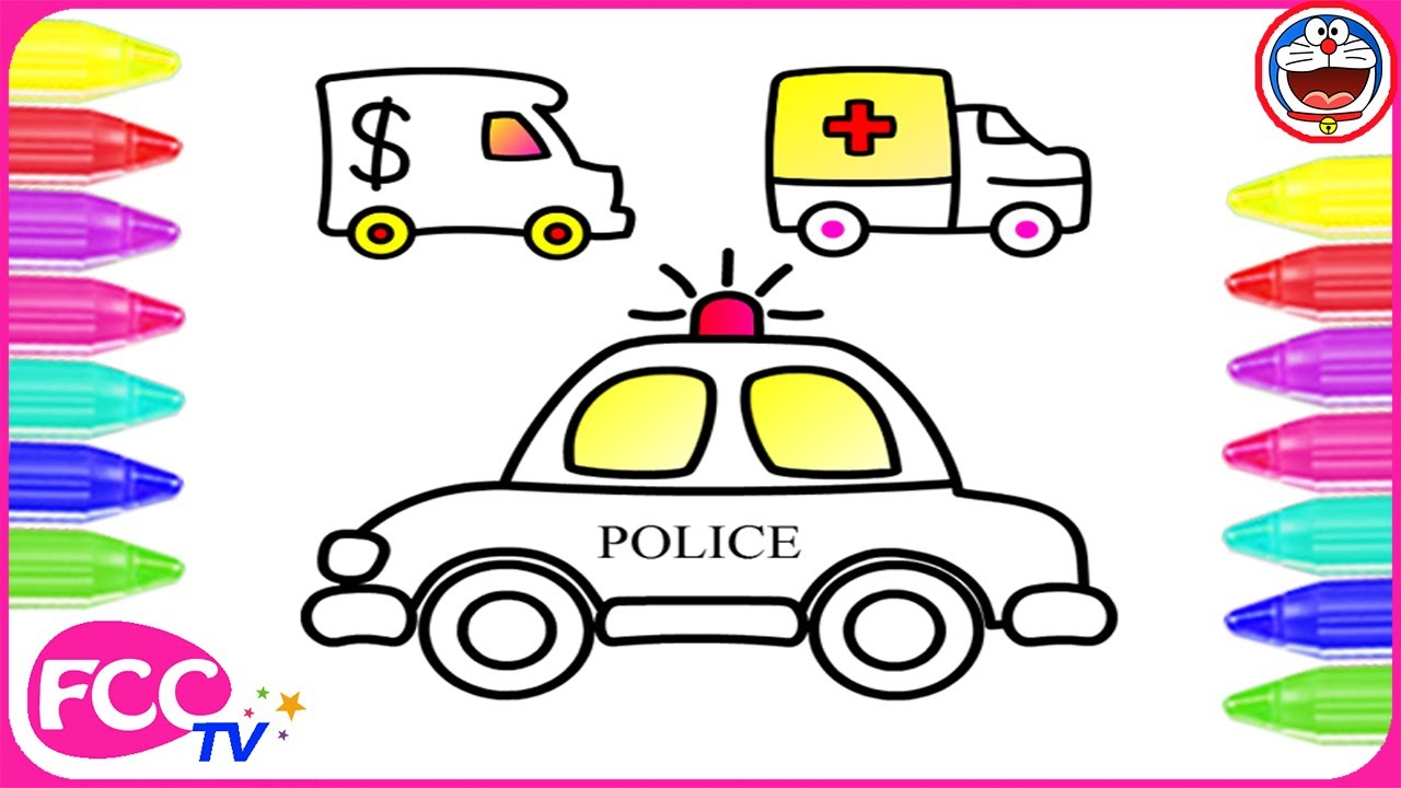 how to draw cars police car ambulance car a car coloring page for coloring and learn colour - Ambulance Pictures To Colour
