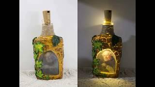 #65 Как сделать лампу / светильник из бутылки - мастер-класс по обратному декупажу бутылки