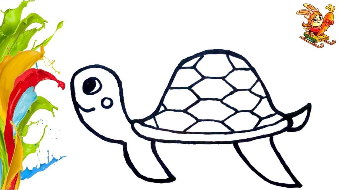 Раскраска для детей. Черепаха.Turtle .Coloring. . Учим ...