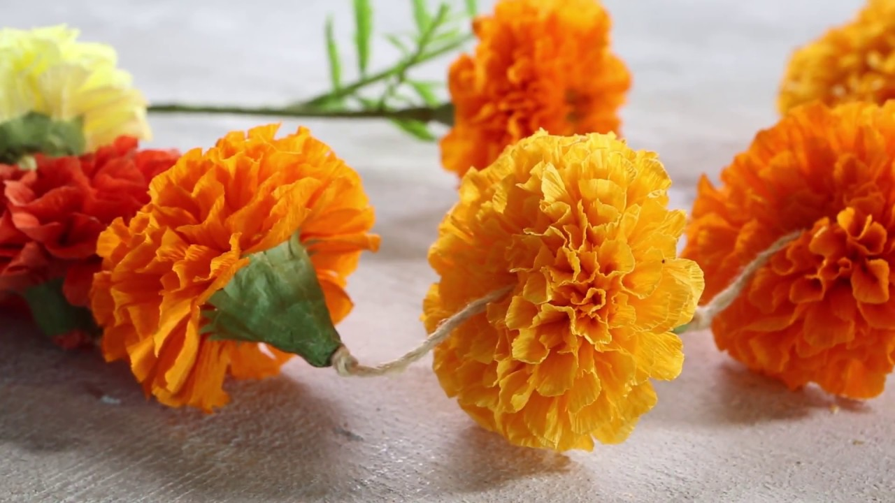 How To Make Marigold Paper Flowers Sunset Youtube