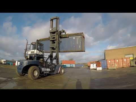 Terex Fantuzzi Shipping Container Handler Stacking Boxes At Alltex Recyclers Ltd, County Antrim.