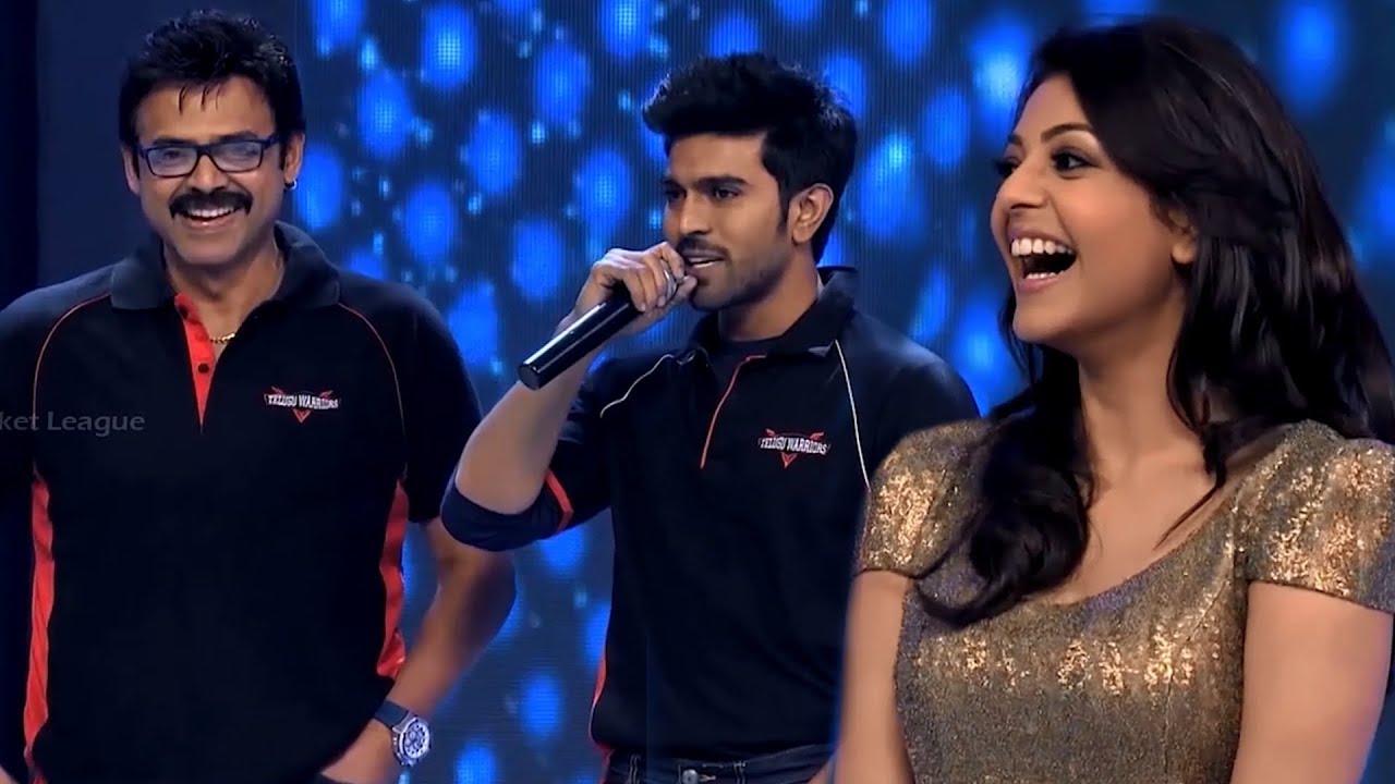 Download Dynamic Entry Of Ram Charan and Venkatesh with Telugu Warriors Ambassador Glamorous Kajal Agarwal