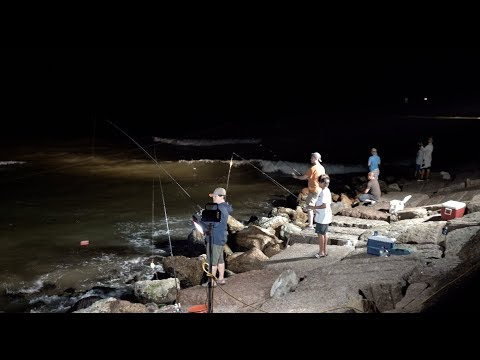Night Time Jetty Fishing, Freeport TX