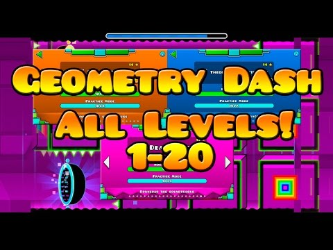 Geometry Dash All Levels 1-20  3 Coins 1 Attempt