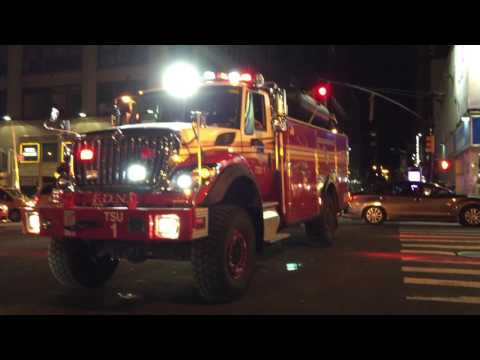 BRAND NEW FDNY TSU 1, GIVES ME A TOOT, WHILE TAKING UP FROM A 10-76 HIGH RISE FIRE IN MANHATTAN.