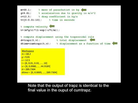 Using the trapz and cumtrapz functions in MATLAB