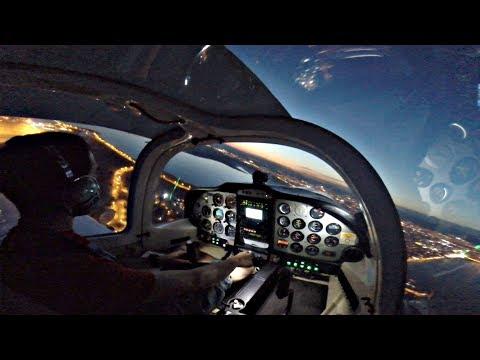 TWILIGHT Takeoff + Night Touch & Gos | Night VFR Flight in Tecnam P2002 | GoPro Cockpit