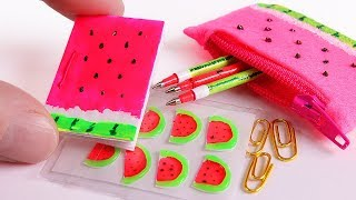 DIY Miniature Watermelon School Supplies