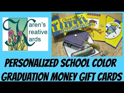 Personalized School Colors Graduation Money Gift Cards
