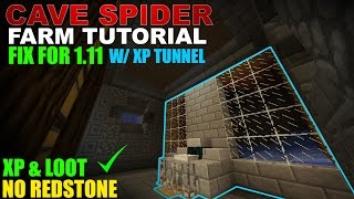 CAVE SPIDER FARM TUT For 1.11 (Improved!)   Minecraft   XP & Loot!   No Redstone   XP Tunnel!