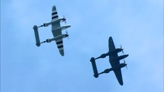 SLEEK Sound of Lockheed P-38 Lightning Flight Demo with TWO P-38s- BEAUTIFUL !