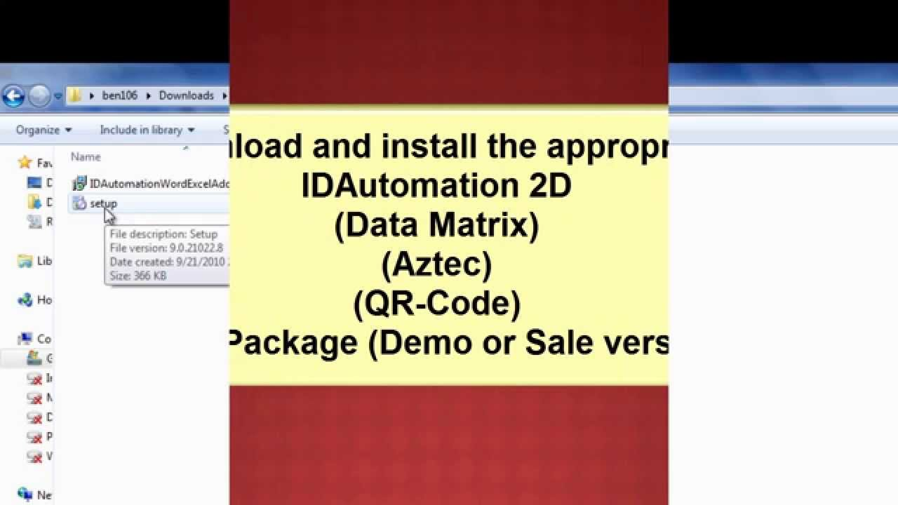 Encode a Tab (or Function) in a 2D Barcode in Microsoft Excel