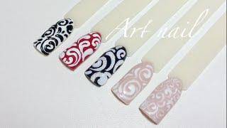 Самые Простые Завитки (Вензеля) На Ногтях! Дизайн Ногтей с Вензелями!
