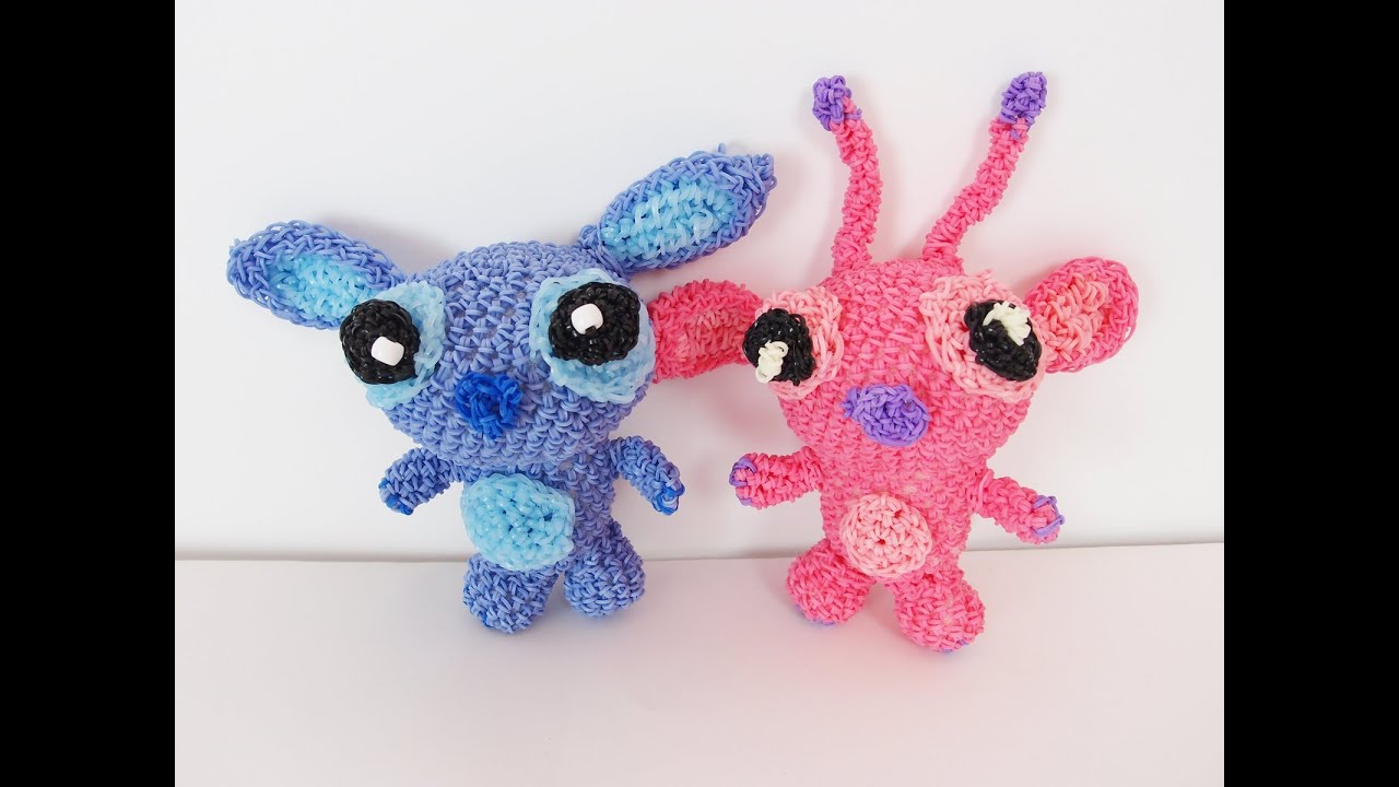 Amigurumi Stitch Tutorial : Stitch and angel from lilo and stitch rainbow loom bands amigurumi