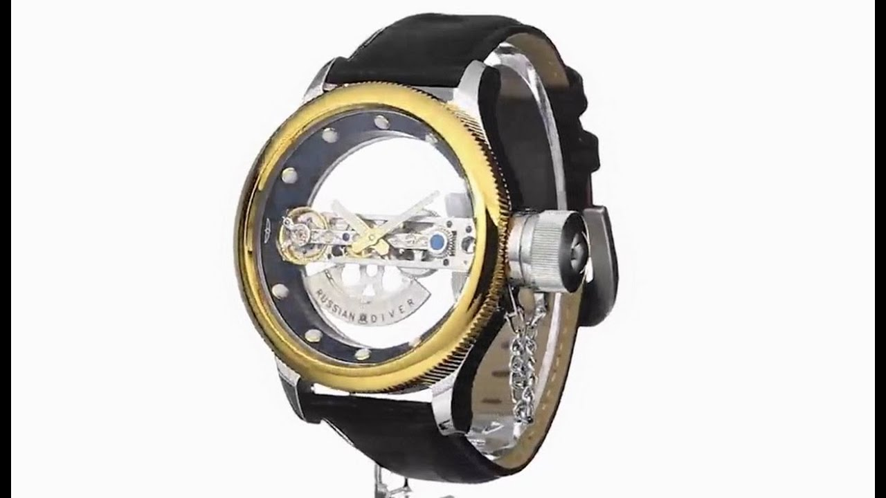 ddc49fe6c Invicta 14213 Russian Diver Automatic Skeleton Bridge Black Leather Watch