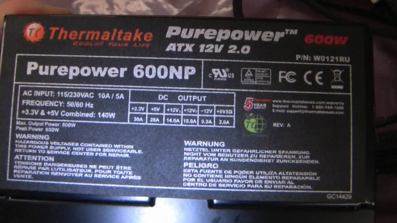 maxresdefault thermaltake purepower 600w psu youtube  at creativeand.co