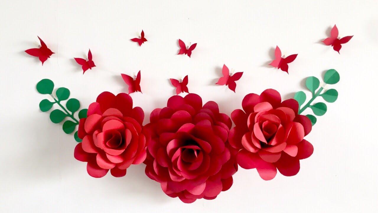 Room Decor Ideas| Nursery Paper Flower Wall Decor | Wall Decor Ideas At Home - YouTube