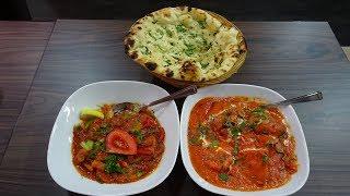 Mushroom Bhaji Curry, Paneer Shashlik Tikka Masala, Garlic Coriander Naan at Gani's Tawa, Leicester.