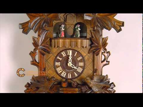 8 Day Black Forest Musical Cuckoo Clock With Dancers Moving Birds Feed Bird Nest 16 Inches Tall You