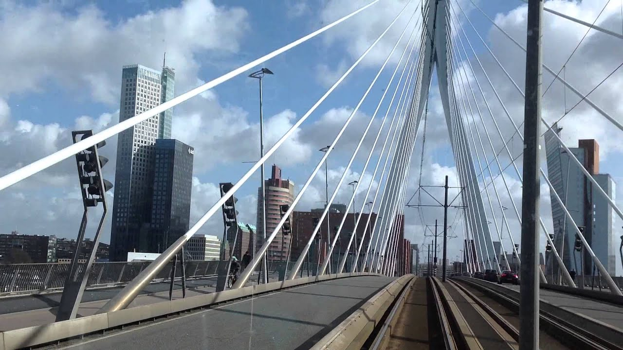 Tram Ride >> Met de tram over de Erasmusbrug Rotterdam (Ritje RET Alstom Citadis 2101) - YouTube