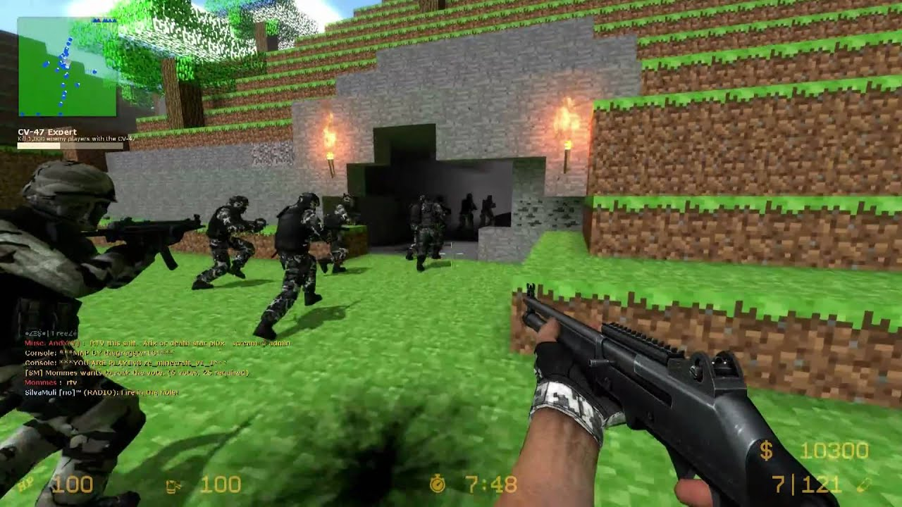Counter-Strike Source: Zombie Escape - ZE_MINECRAFT_V1_1 + 2 Funny fails [15Min] (1080p)