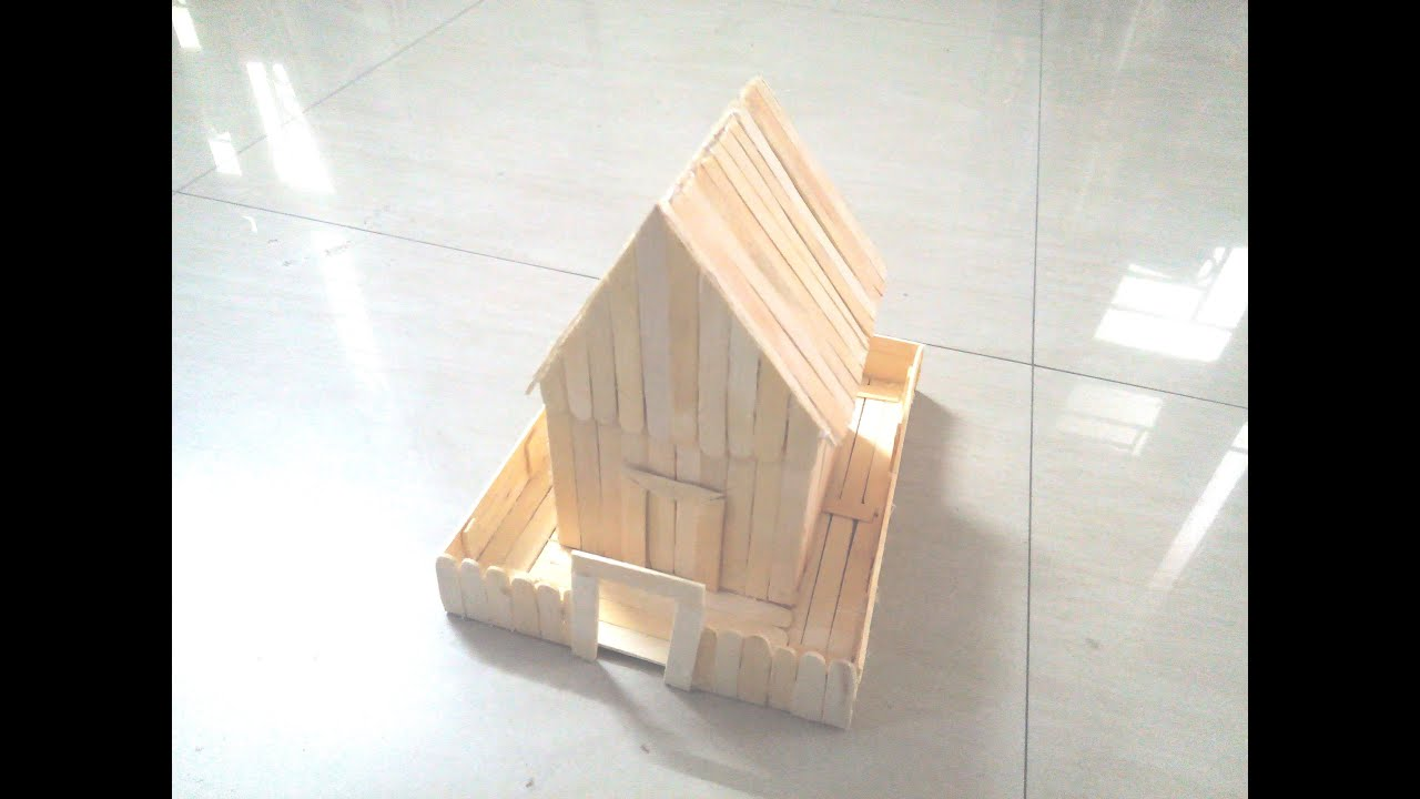Diy how to make a house using ice sticks popsicle sticks youtube ccuart Image collections