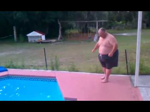 Fatman jumps in a pool youtube for Pool man show