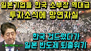 일본기업들 한국 소부장에 2조1천억 투자소식에 망연자실/한국건드렸다 반도체 퇴출위기