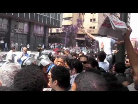 Cairo, April 6: Police attack several dozen protesters calling for democratic reforms