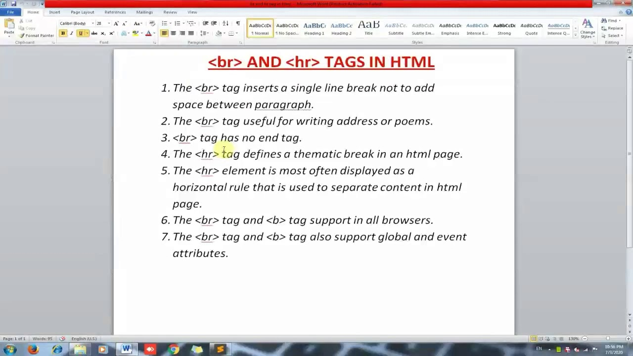 Use Of Br Tag And Hr Tag In Html