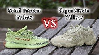 222751e1b45 Yeezy 350 Semi-Frozen Yellow VS. Yeezy 500 Supermoon Yellow | ON-Feet