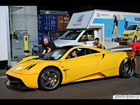 Leonardo Pagani driving the Geneva Yellow Pagani Huayra - Sound & Revs