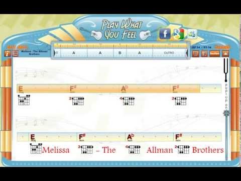 Melissa The Allman Brothers Guitaraoke Chords Lyrics